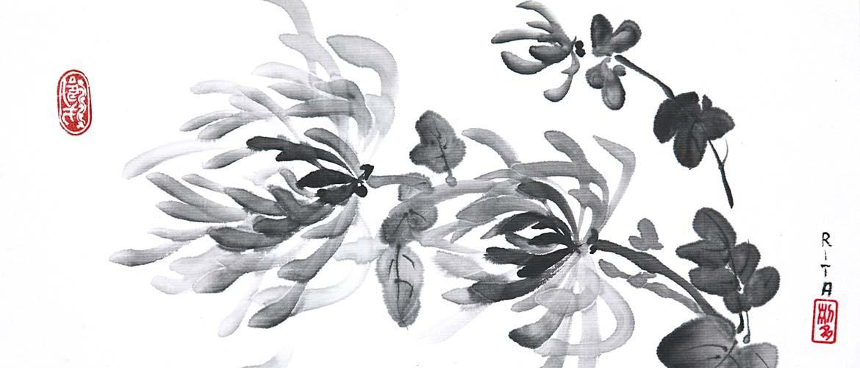 Sumi-e - 4 edlen Herren - Chrysantheme