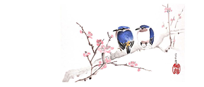 Sumi-e Blumen und Vögel