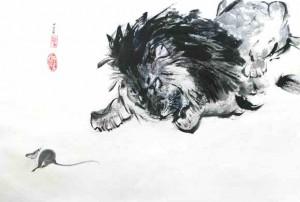 Löwe und Maus - Beispiel für aufgezogenes Bild