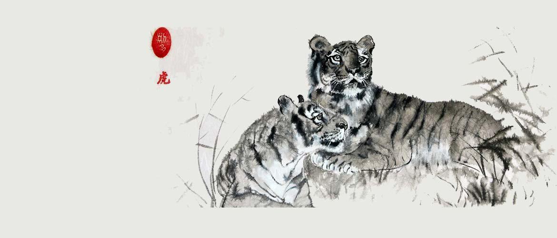 Sumi-e Tigerpaar