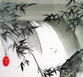 Wasserfall mit Bambus